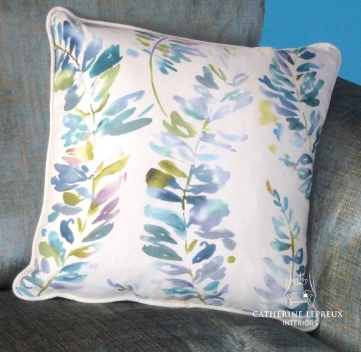 Turquoise teal handmade piped cushion in a Voyage linen
