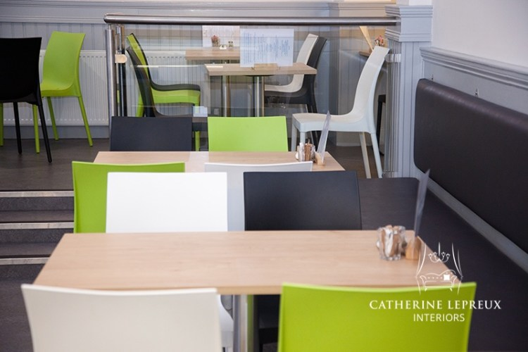 Contemporary colour scheme for café after refurbishment in Edinburgh area.
