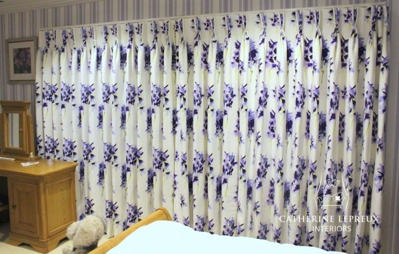 Hand made interlined curtains in Bluebellgray Delphinium linen on a bespoke Bradley Collection pole