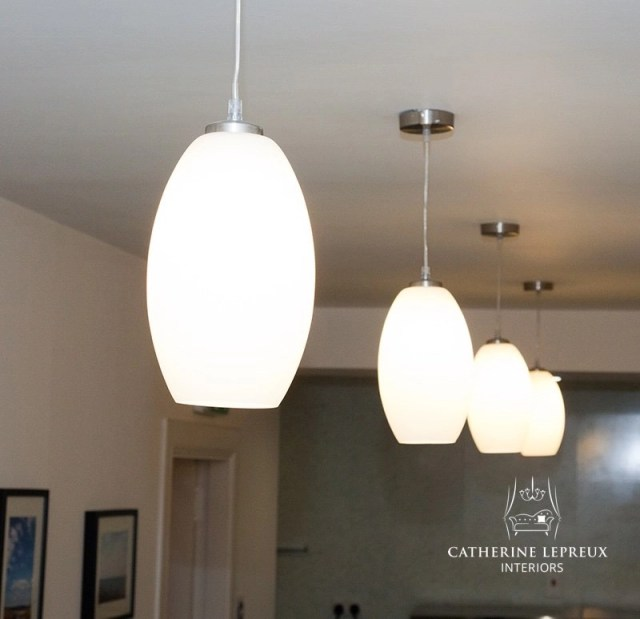 Contemporary pendant lights with white opaque glass shades