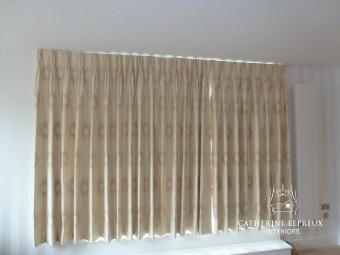 Silk curtains after alterations in an Ediinburgh penthouse flat. Interlined and blackout lined
