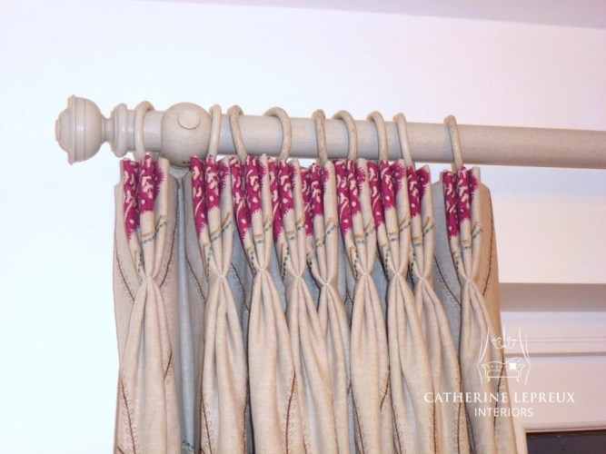 Interlined linen curtains on a painted wooden curtain pole. Hung in a snug familiy room in Perth