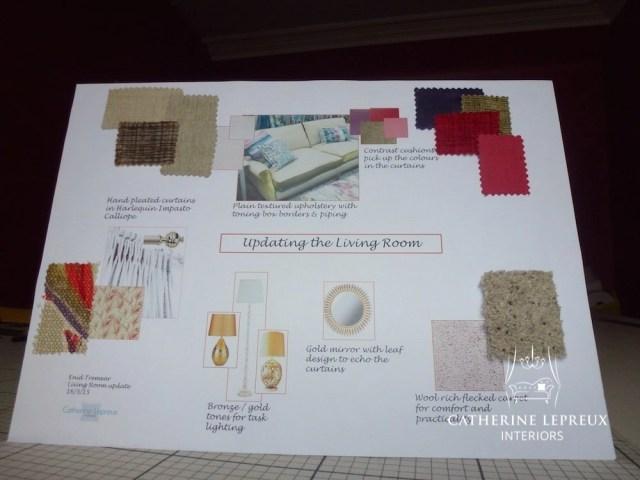 interior design inspiration board for a classic contemporary living room