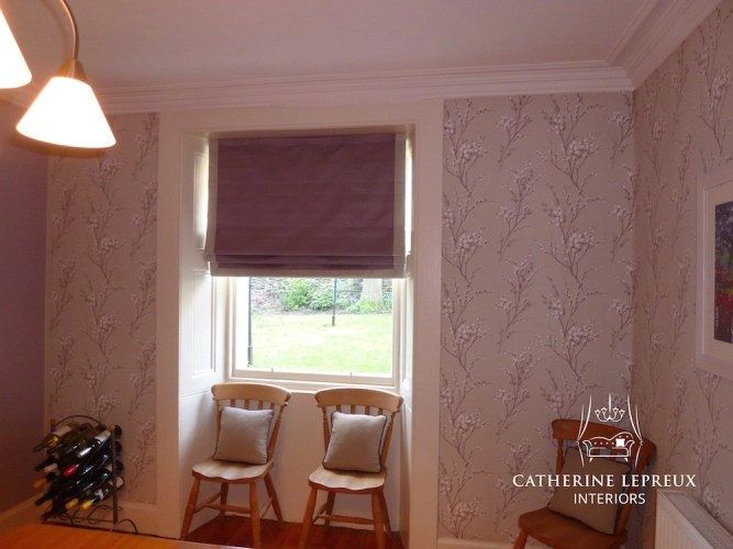Blackout lined lilac silk roman blind with contrast borders in an Edinburgh tenement flat