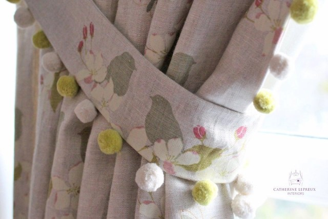 curtains arched window Fife bespoke tieback pompoms Susie Watson