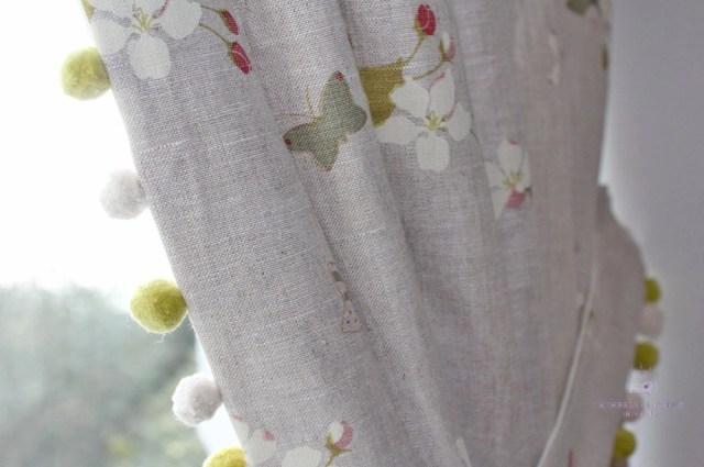 curtains arched window handmade Susie Watson linen pom pom edging