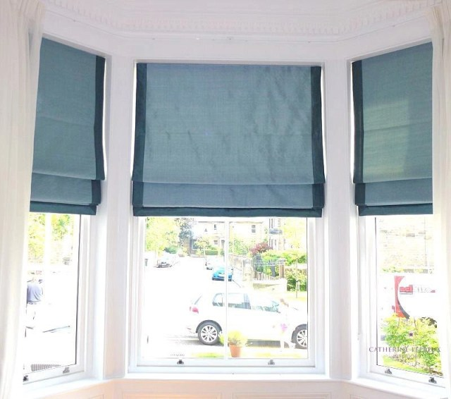 handmade roman blinds traditional triple bay window Edinburgh