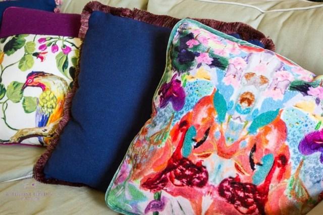Repurposed bespoke velvet print cushions Fife
