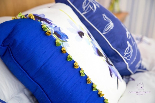 soft furnishings bespoke cushion Bluebellgray linen blue silk Edinburgh bedroom