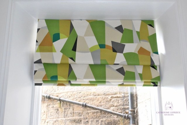 Made to measure roman blind for an Edinburgh period flat kitchen Scion Pucci lime green charcoal grey