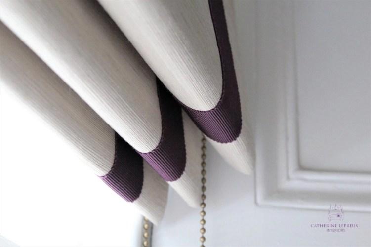 Bespoke roman blind Edinburgh sash window James Hare faux silk