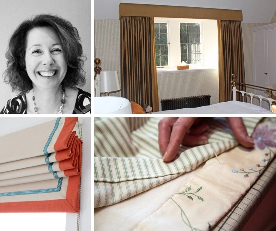 Collage showing Catherine Lepreux and her work as curtain maker St Andrews, Edinburgh, Perth
