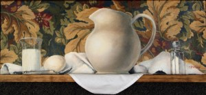 "Original Oil painting, ""Continental"" by Catherine Stephens, Mixed Media, 8"" x 22"", Ready to Hang."