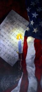 "Original Oil Painting by Catherine Stephens ""Freedom's Flicker"" Oil on Panel, 36"" x 12."" Handcrafted Frame. online"