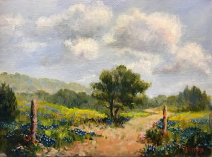 """Bluebonnet Road, "" Oil on Canvas, 9"" x 12"" Framed, $160, Original Oil Painting by Catherine Stephens"