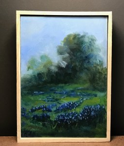 """Field of Blue"" Oil on Panel, 5.5 x 8"", Handcrafted Frame. $80.Original Oil Painting by Catherine Stephens"