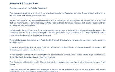 Regarding NHS Track and Trace