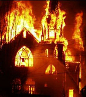 It is believed this Christian Church in Pakistan was torched by Muslims as a result of the video President Obama said caused the attack on the American embassy in Benghazi, Libya