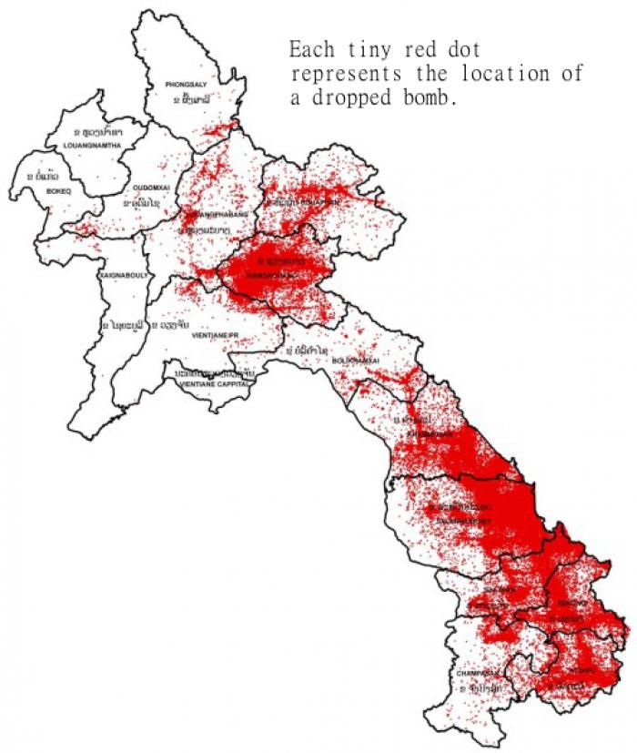 A map of the locations where bombs were dropped on Laos. About 30 percent of the cluster bomb munitions did not detonate on impact.