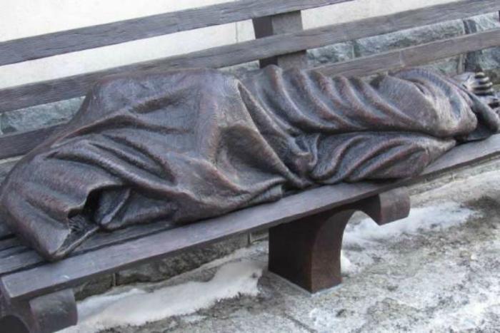 Homeless Jesus statue.