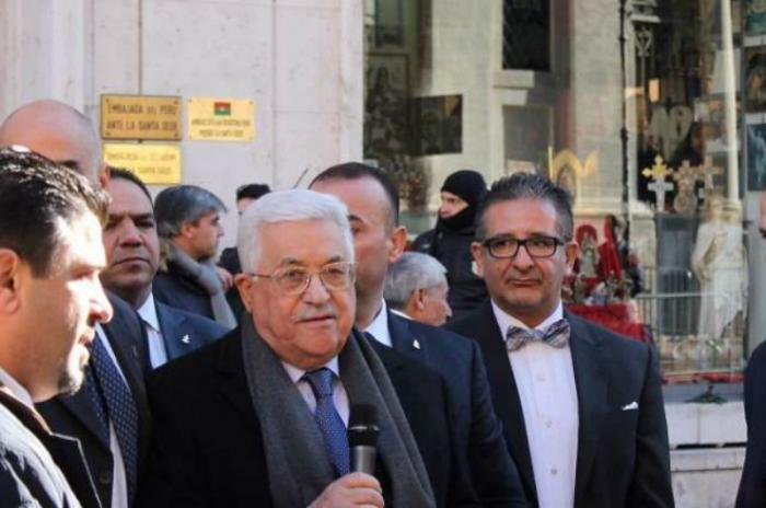 Palestinian President Mahmoud Abbas inagurates the new Palestinian Embassy to the Holy See.