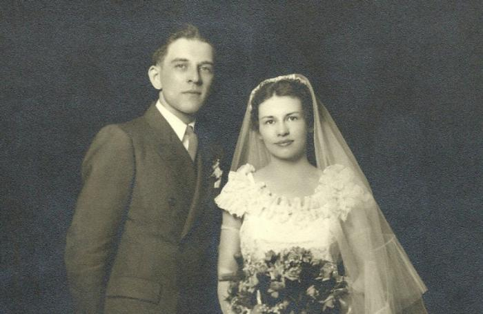 Carrie Lou Rausch with her husband, Paul, on their wedding day.