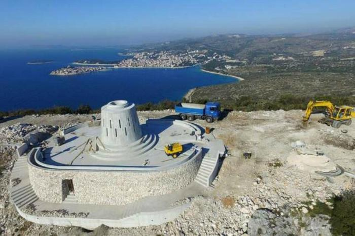 Construction at the future site of a 55-foot Marian statue in Primosten, Croatia.