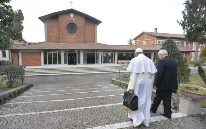 Pope Francis arriving at the retreat centre on Sunday.