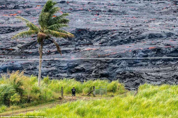 A man was captured standing dangerously close to the lava in shorts and flip-flops.
