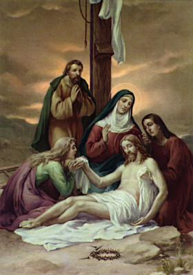 Image of Thirteenth Station: The body of Jesus is taken down from the cross