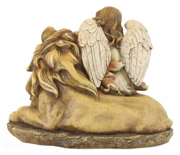 Lion And Lamb And Angel Statue 115