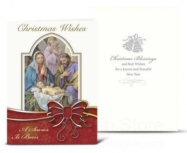 The Holy Family With Red Bow Christmas Card Set