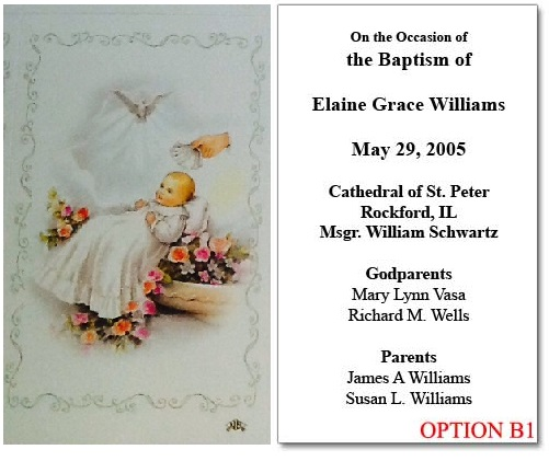 Personalized Baptism Holy Card Cherubs
