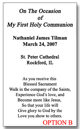 Personalized First Communion Holy Cards Boy 25000