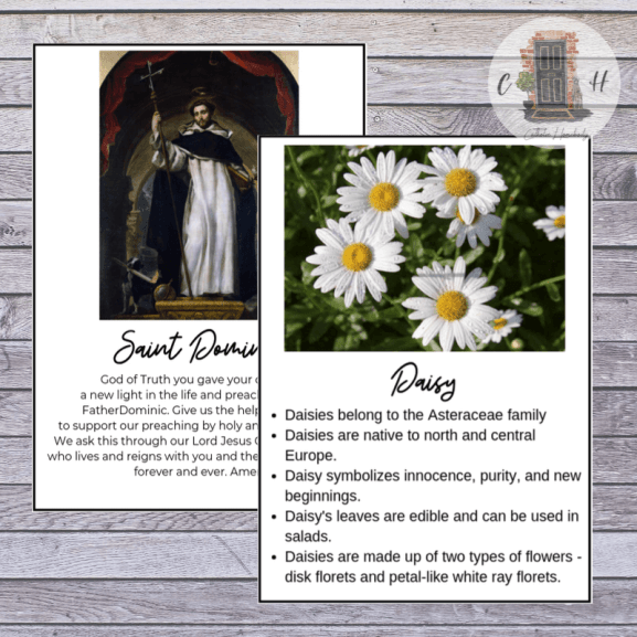 Alphabet saint prayer cards and printable flower fact cards