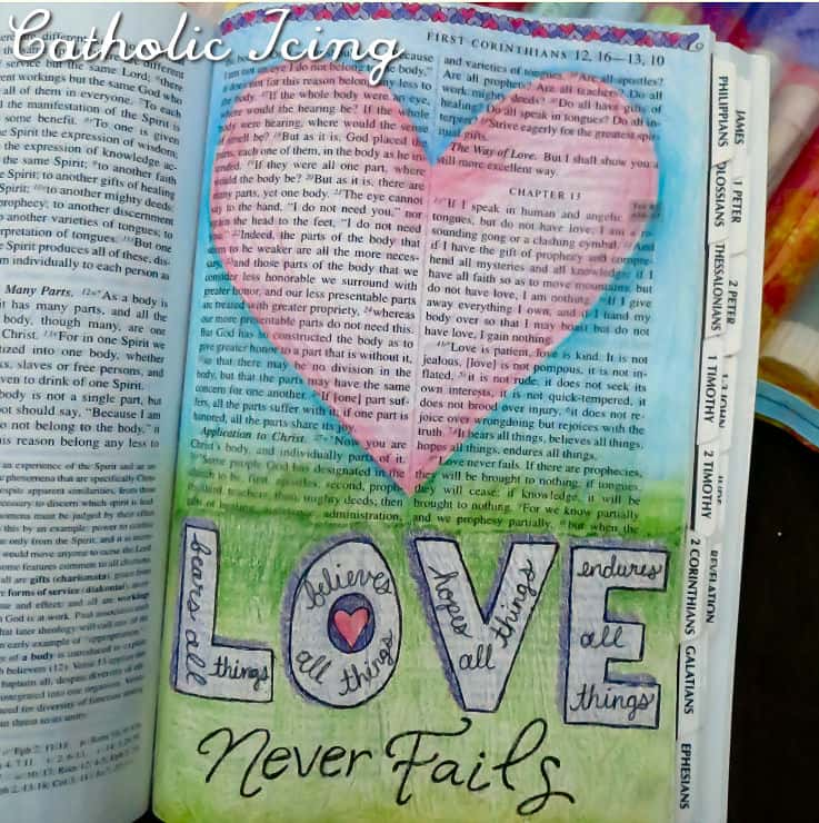 bible journaling- love is patient love never fails