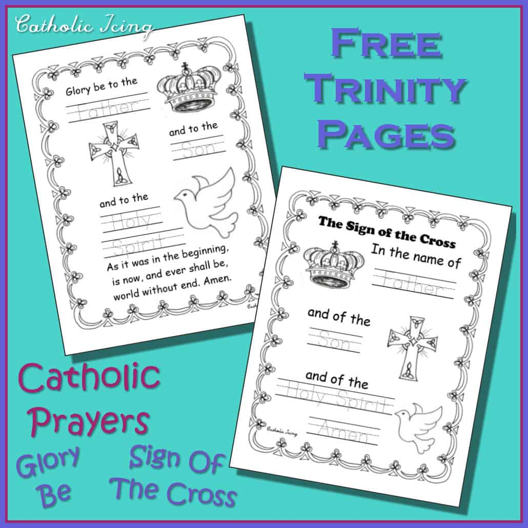 Free Trinity Printables Coloring Page Sign Of The Cross Amp Glory Be Fill In