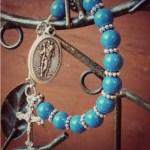 Traveling blue rosary with Swarovski beads