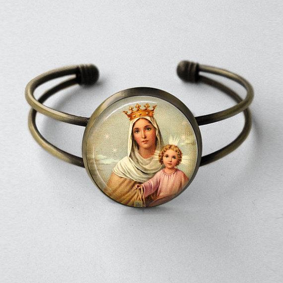Our Lady of Mount Carmel Cuff Bracelet
