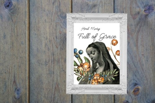 Hail Mary printable image. Hail Mary full of grace. home decoration.