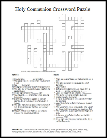 holy communion crossword puzzle perfect puzzle for first communion