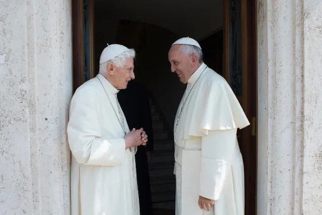Pope Francis with Pope Emeritus Benedict XVI at the Monastery of Mater Ecclesiae in Vatican City on June 30, 2015. Credit: L'Osservatore Romano.