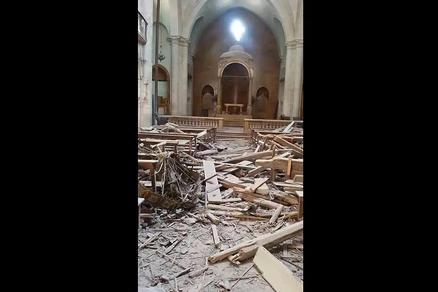 Interior of a damaged church building in Aleppo, April 2015. Credit: Melkite Archdiocese of Aleppo. Courtesy of Aid to the Church in Need.
