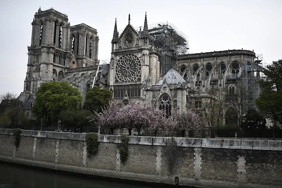 Firefighters work to extinguish a fire at The Notre-Dame de Paris Cathedral in Paris early on April 16, 2019. Credit: STEPHANE DE SAKUTIN/AFP/Getty Images