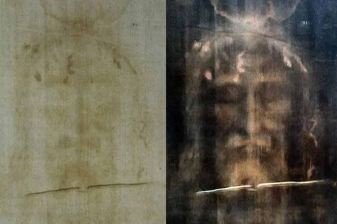 Shroud of Turin featuring positive (L) and negative (R) digital filters. Credit: Dianelos Georgoudis via Wikimedia Commons.