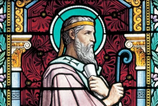 A stained-glass window depicting St. Irenaeus at the Church of St, Irenaeus in Lyon, France.