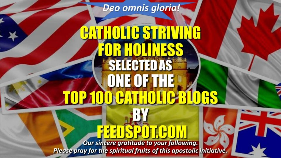 WWW.CATHOLICSSTRIVINGFORHOLINESS.ORG CHOSEN AMONG THE 100 TOP CATHOLIC BLOGS IN THE WEB