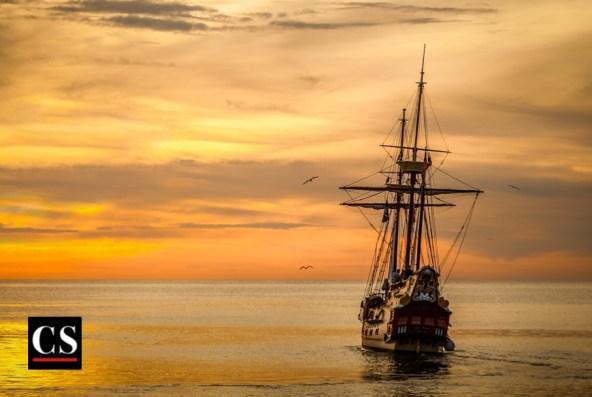 ship, sunset