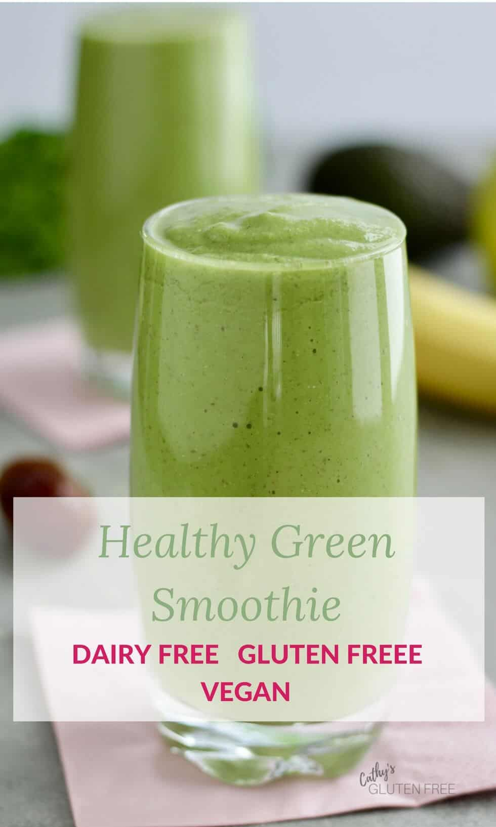 Delicious Healthy Green Smoothie with banana, avocado, apple, and hemp seeds