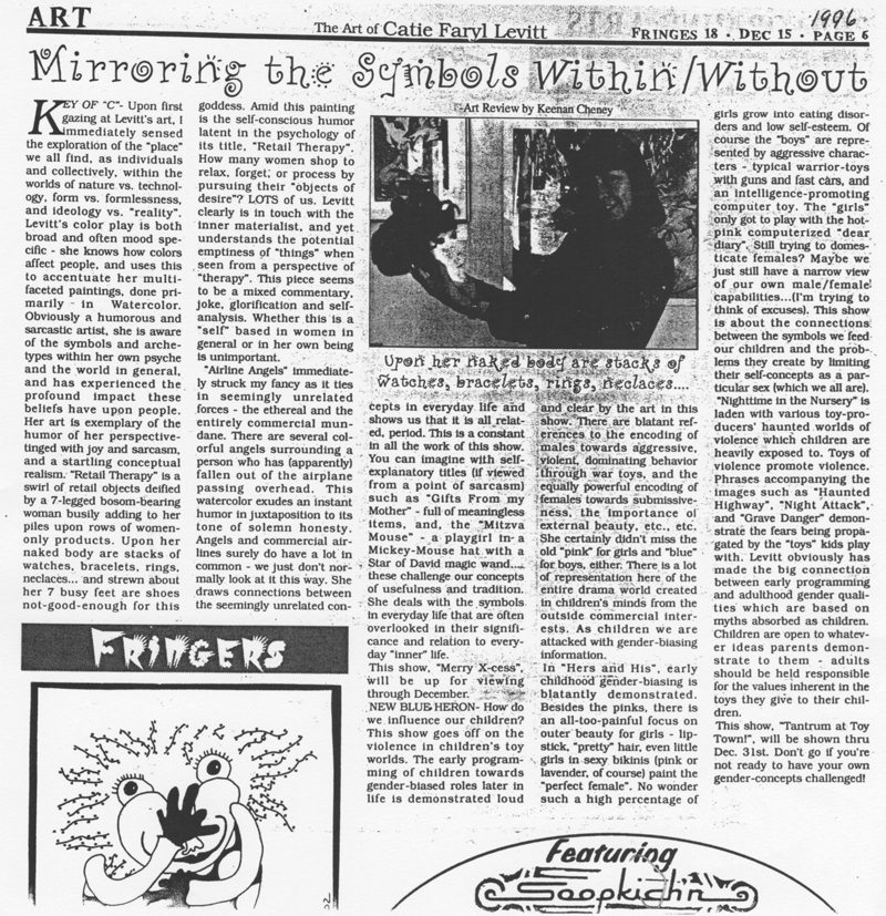Mirroring the Symbols Within/Without, Review of two art exhibitions by Catie Faryl in Ashland, 2000
